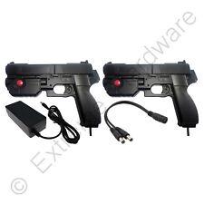 2 x Ultimarc AimTrak Black Arcade Recoil Light Guns & 24V 3A Power Supply PSU