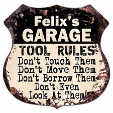 BPG0259 FELIX'S GARAGE TOOL RULES Shield Sign Man Cave Decor Funny Gift