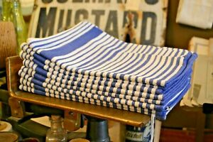 Heavy Duty Tea Towels / 100% Cotton / Traditional Blue & White Stripe / Pk of 3