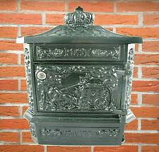 Briefkasten aus Aluguss, historisches englisches Design, mit 2 Schlüssel, grün