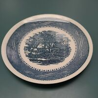 "Currier and Ives The Old Grist Mill Royal USA 6 3/4"" Dessert Bread Plate"