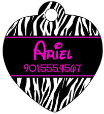 Zebra Animal Print Pet Id Tag for Dogs & Cats Personalized w/ Name & Number