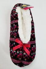 FUZZY NONSLIP SLIPPER SOCKS JOE BOXER SIZE 8-10.5 PURPLE/RED SNOWFLAKE DESIGN