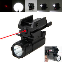 Tactical 2000LM R5 LED Flashlight Rifle Gun Rail Mount Torch 20mm Red Laser Dot