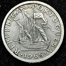 PORTUGAL COIN 2-1/2 ESCUDOS 1965 COPPER / NICKEL KM#590.