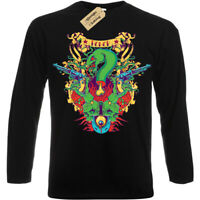 Honor T-Shirt snake skull guns Mens Long Sleeve