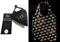 Marks and Spencer Pouch Shopping Bag ~1 Reusable Black Tote Foldaway Shopper M&S