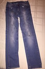 Girls Zara Kids Jeans Size 140 cm or 9-10 age Distressed and Aged Straight Leg