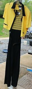 Woman's Yellow & Black Pant Jump Suit by John Roberts; Size:  16 - NWT