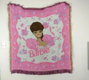 """Vintage Barbie Throw Blanket Wall Tapestry Beacon USA Pink Flowers 52""""x58"""" Girls"""