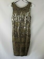 NWT XSCAPE Sequin Cocktail Dress Women's Size 4 Silver Gold Party Fancy Sexy