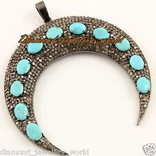 Turquoise Studded Silver Pendant Jewelry Artdeco Estate 6.01cts Rose Cut Diamond