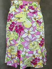 BLUMARINE Womens JERSEY Gored Skirt ITALY Lemons Cherries SLINKY S/M 4-6 RESORT