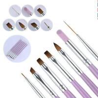 Acrylic 7 x Nail Art UV Gel Painting Drawing Brushes Flat Brush Set Professional