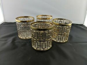 Vintage Set of 4 Mid Century Imperial Glass Shoji 22k Gold On The Rocks Glasses