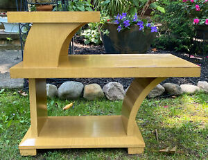 Vintage Mid Century Wood 3 Tier Step Table End Side Table Nightstand Plant Stand