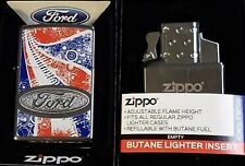 ZIPPO Torch LIGHTER FORD MOTOR CO CHROME RARE DISCONTINUED Butane Insert Double