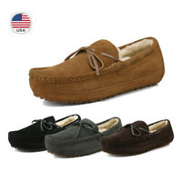 Men's Sheepskin insole Moccasin Toe Suede leather Slippers Slip On Shoes US Size