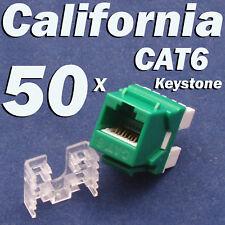 50 X Pcs lot Keystone Jack CAT6 Green Network Ethernet 110 Punch Down 8P8C RJ45