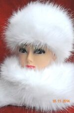 Faux Fur Hat and Scarf Shawl Russian Style WHITE Fluffy NEW