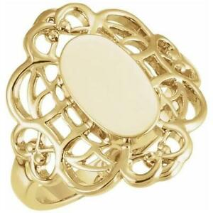 18K Yellow Gold Ladies Oval Signet Ring