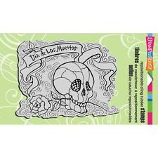 New Stampendous Rubber Stamp cling Penpattern Skull Halloween free us ship