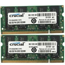 Crucial 8GB 2x4GB PC2-6400 DDR2-800Mhz 200Pin SoDimm Non-Ecc Laptop  Memory RAM