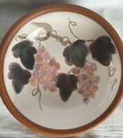 Vintage Australian Pottery Large Fruit Bowl With Grapes ~ Signed