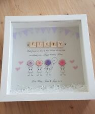 Personalised Best Friend Birthday Scrabble Frame (50th) gift, buttons, box frame