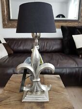 COLMORE ALU  Lampe 38cm Lilie Tischlampe  silber Nachtischlampe Lampenfuss