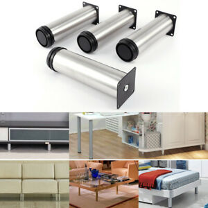 4X Cabinet Sofa Legs Adjustable Stainless Steel Feet Round Stand Kitchen +Screws
