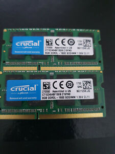 Lot 16GB: 2x CRUCIAL US 8GB CT102464BF160B.M16FND RAM PC3L DDR3L-1600 1.35v CL11
