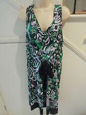 LAVENDER ROAD SIZE 20 WHITE GREEN BLACK PATTERN DRESS 'PERFECT'