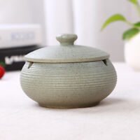 Ceramic Ashtray with Lid Home & Office Ash Holder for Indoor Use Light Blue