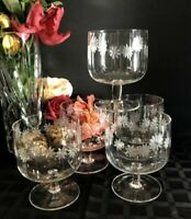 5 - Vintage Daisy Floral Etched Large Dessert Sherbet Cups Footed Clear Crystal