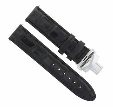 20MM LEATHER WATCH STRAP BAND CLASP FOR OMEGA SPEEDMASTER MOONWATCH BLACK #2A