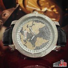 Jo Jino Platinum World Dial Mens Diamond Watch .20ctw Hip Hop Yellow Black All