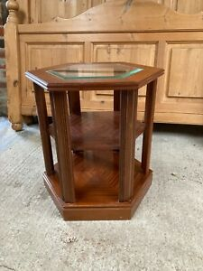 Hexagonal 6 Sided Brown Coffee Side End Table with Glass Top & Shelf