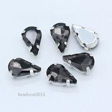 40p 13x8mm teardrop sew on crystal glass Diamante rhinestones jewels loose stone