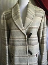 Lands' End Woman's Wool Shaded Browns Long Jacket NWOT Size 8 Regular