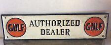 ~~~~Cast iron GULF AUTHORIZED DEALER gasoline sign motor oil pump plates ~~~~~