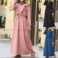 ZANZEA Womens Muslim Long Sleeve A Line Belted Ruffles Elegant Ladies Maxi Dress