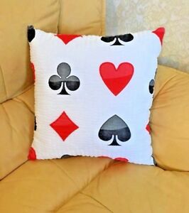 Playing card Poker Pillow Game Room cushion Decorative Sofa 100%cotton 18''x18''
