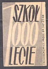 POLAND 1959 Matchbox Label - Cat.Z#136a-px. 1000 Schools for 1000 years (Polish)