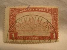 Hungary Stamp 1916 Scott 122 A10 Red 1 Korona Building