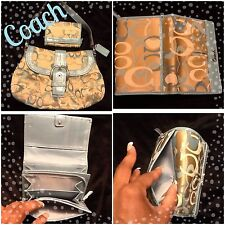 NWOT Coach Soho Pleated Jacq & Leather Handbag Set Ret $560 **SEE ALL MY ITEMS**