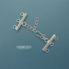 5 Sets Sterling Silver Multi 3 Strand Hook Clasp Connector with Extender #33229