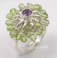 Mother's Day Presents 925 PURE Silver AMETHYST PERIDOT BEADED Ring Any Size