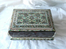 "Egyptian Inlaid Mother of Pearl Paua Jewelry Box 6.75"" # 535"