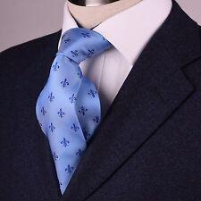 Blue Skinny Tie with Blue Fleur-De-Lis Designer Luxury Woven Fashion